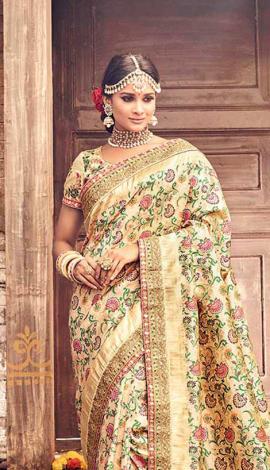 Beige Banarasi Pure Silk Saree