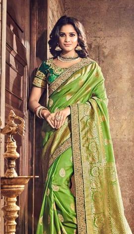 Green Banarasi Pure Silk Saree