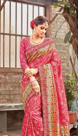 Pink Banarasi Pure Silk Saree