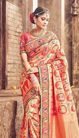 Orange Banarasi Pure Silk Saree