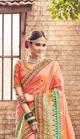 Peach Banarasi Pure Silk Saree