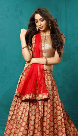 Maroon & Red Art Silk &  Brocade Lehenga
