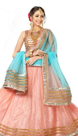 Light Blue & Pink Art Silk Lehenga