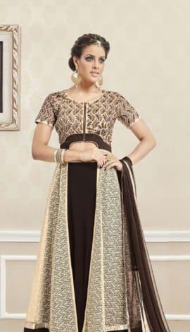 Black & Brown Silk Georgette Saree