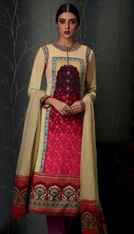 Cream + Red Pure Cotton Satin With Embroidery Salwar Kameez