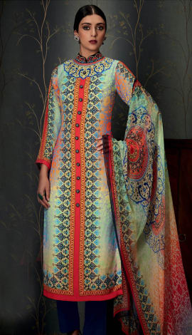 Multi Pure Cotton Satin With Embroidery Salwar Kameez