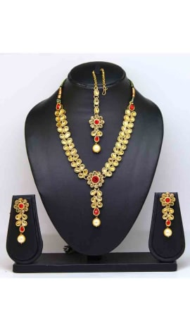 Red Stone And Pearl Jewellery