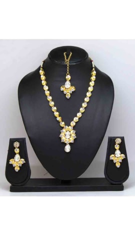 Silver Stone And Gold Finishing Jewellery