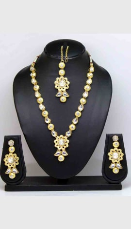 White(Gold) Brass And Stone Jewellery