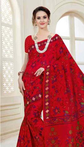Bright Red Cotton Saree