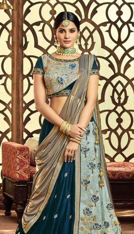 Royal Blue Velvet, Raw Silk Saree