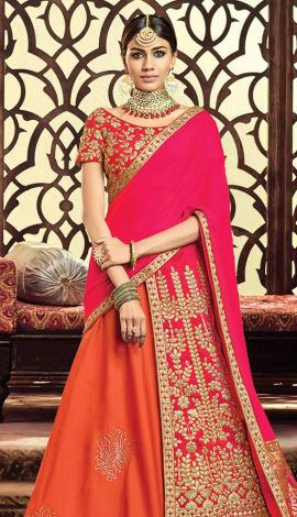 Orange, Pink Taffeta Silk, Raw Silk Saree