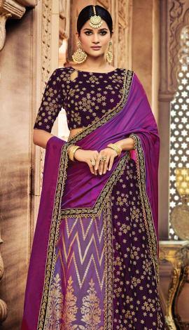 Purple Jacquard Silk, Velvet Saree