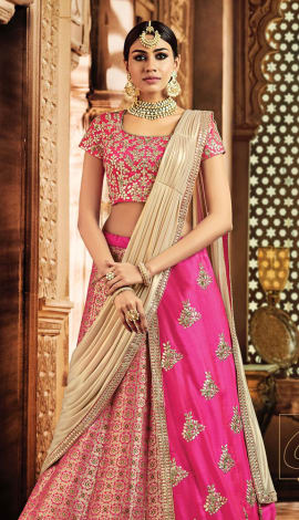Pink Jacquard Silk, Taffeta Silk Saree