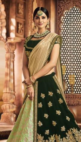 Green Jacquard Silk, Velvet Saree