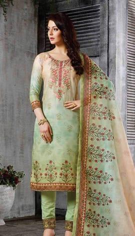 Green Top Chanderi Salwar Kameez