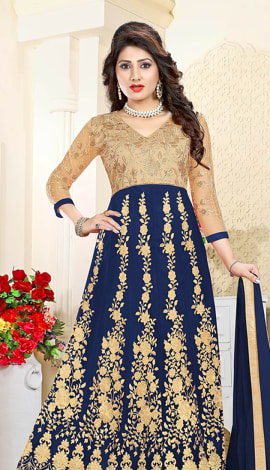 Navy Blue Art Silk & Net Lehenga