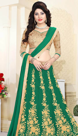 Green Art Silk & Net Lehenga