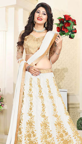 White Art Silk & Net Lehenga