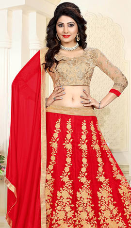 Red Art Silk & Net Lehenga