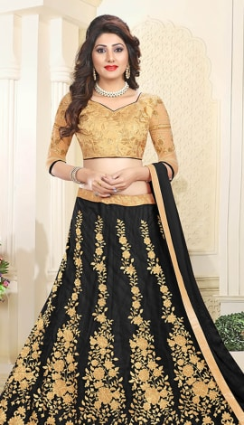 Black Art Silk & Net Lehenga