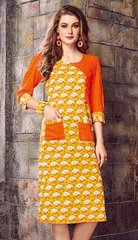 Yellow & Orange Cotton Kurti