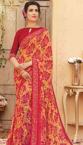 Yellow & Red Georgette Saree