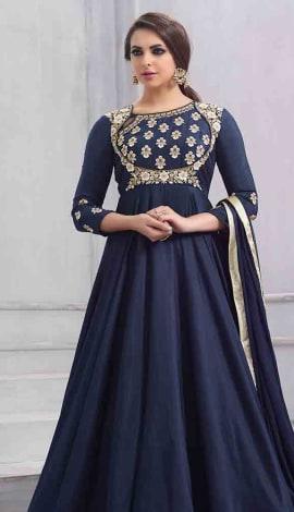 Navy Blue Art Silk Salwar Kameez