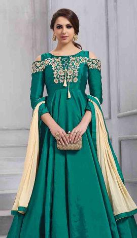 Teal Green Art Silk Salwar Kameez