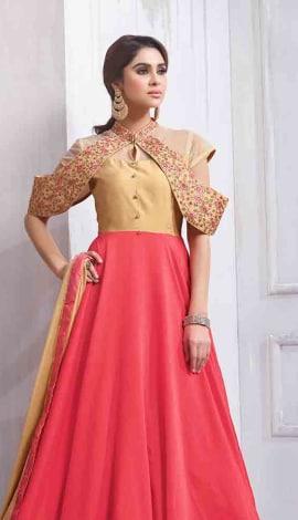 Pink & Beige Art Silk Salwar Kameez
