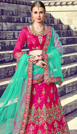 Rani Pink Art Silk Lehenga