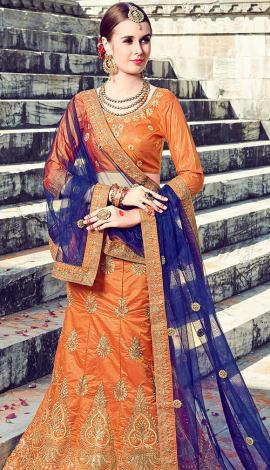 Orange Art Silk Lehenga
