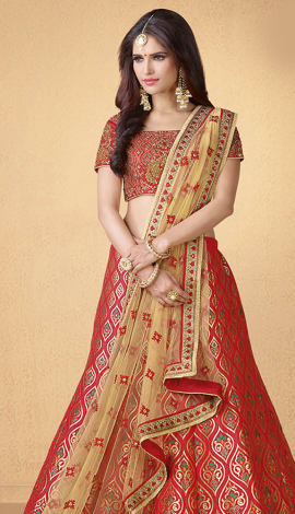 Red Art Silk Lehenga