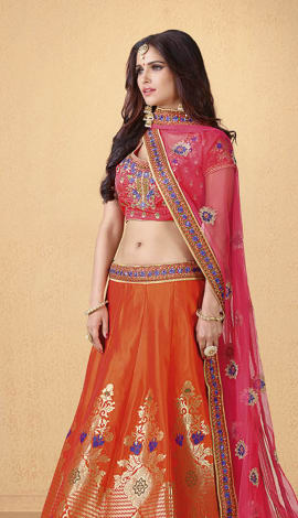 Orange Art Silk Lehenga