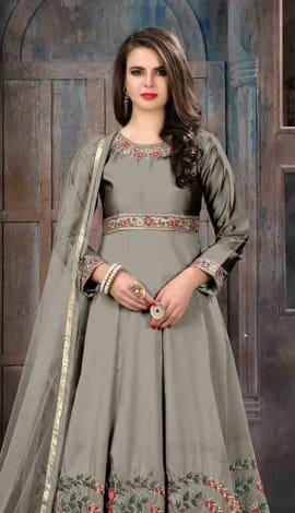 Grey Art Silk Salwar Kameez