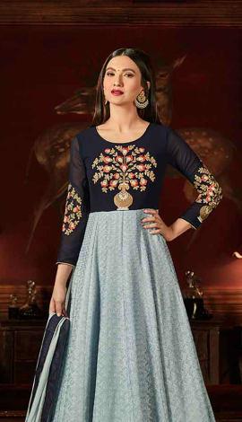 Steel Blue & Navy Blue Georgette Salwar Kameez