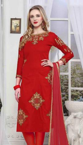 Red Cambric Cotton Salwar Kameez