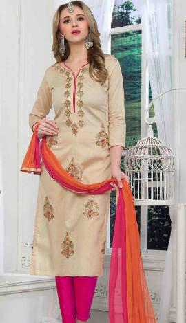 Beige Cambric Cotton Salwar Kameez