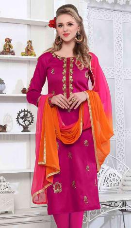Dark Pink Cambric Cotton Salwar Kameez
