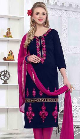 Navy Blue Cambric Cotton Salwar Kameez