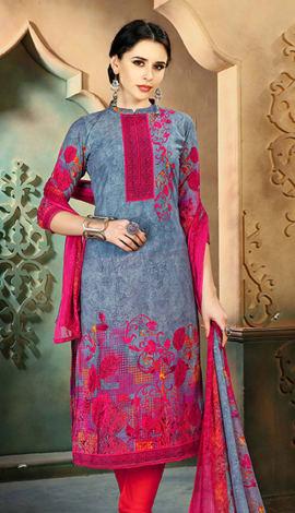 Grey Cotton Salwar Kameez