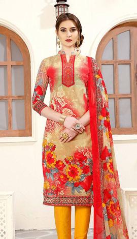 Beige & Red Cotton Salwar Kameez