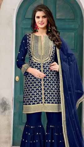Royal Blue Art Silk Salwar Kameez