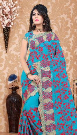 Turquoise Blue Georgette Saree