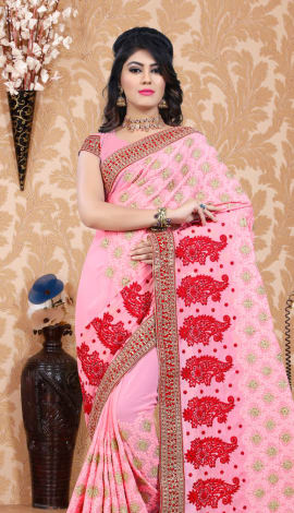 Light Pink Georgette Saree