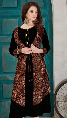 Black & Brown Rayon Cotton Kurti