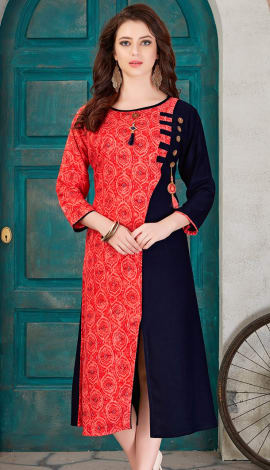 Red & Blue Rayon Cotton Kurti
