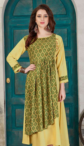 Yellow & Green Rayon Cotton Kurti