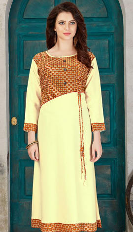 Cream Rayon Cotton Kurti