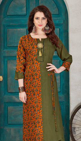Olive Green & Musturd  Yellow Rayon Cotton Kurti